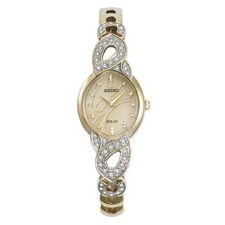 Seiko SUP342 ladies Gold Tone Stainless Steel Solar Watch with Crystals