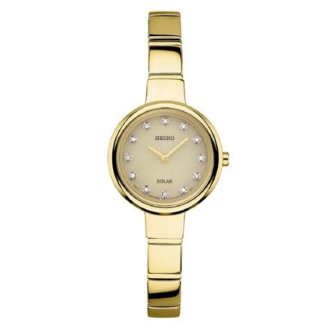 Seiko Ladies Gold Tone Diamond Solar Watch