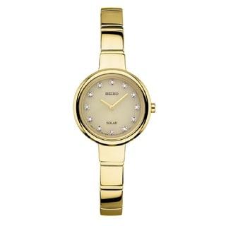 Seiko SUP366 Ladies Gold Tone Diamond Solar Watch