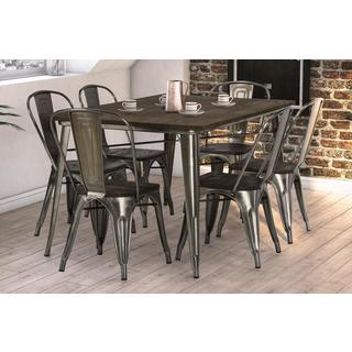 DHP Fusion Antique Gun Metal Rectangular Table and 6 Chairs
