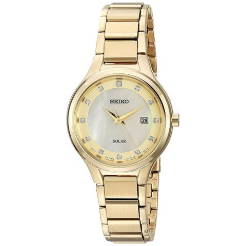 Seiko Ladies Gold Tone Stainless Steel and Diamond Date Watch