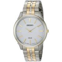 Seiko  Men's Thin Two Tone Stainless Steel Solar Watch
