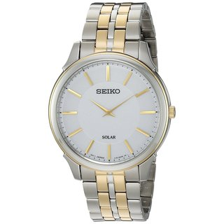 Seiko SUP864 Men's Thin Two Tone Stainless Steel Solar Watch