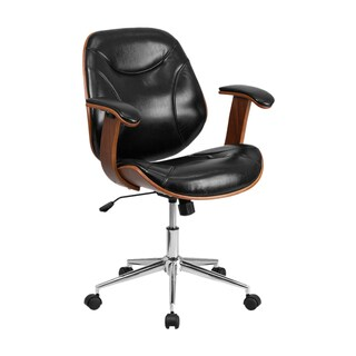 Offex Mid-Back Black Leather Executive Wood Swivel Office Chair