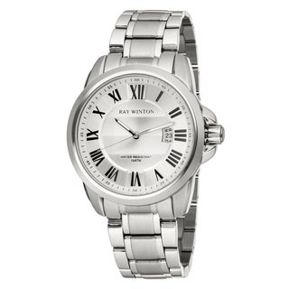 Ray Winton Men's WI0092 Analog Textured Silver Roman Numeral Dial Silver Stainless Steel Bracelet Watch