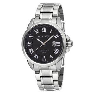 Ray Winton Men's WI0091 Analog Textured Black Roman Numeral Dial Silver Stainless Steel Bracelet Watch