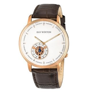 Ray Winton Men's WI0052 Analog Black Dial Black Leather Watch