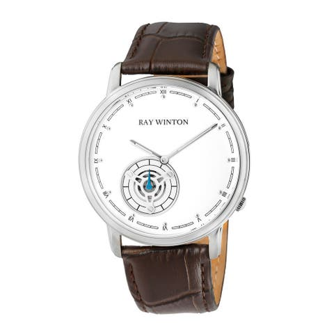 Ray Winton Men's WI0051 Analog White Dial Geniune Brown Leather Strap Watch