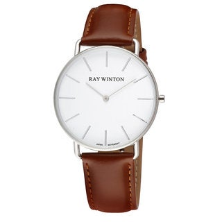 Ray Winton Men's WI0063 Slim Analog White Dial Light Brown Leather Watch