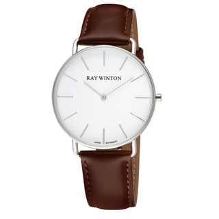 Ray Winton Men's WI0063 Slim Analog White Dial Dark Genuine Brown Leather Watch
