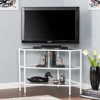 Harper Blvd Norwin Metal/Glass Corner TV Stand - White