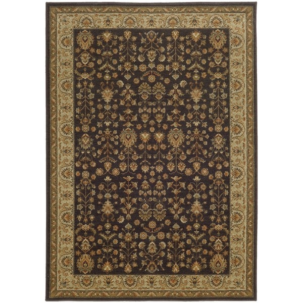 "Style Haven Traditional Borders Grey/Gold Indoor and Outdoor Area Rug (7'10 x 10'10) - 7'10"" x 10'10"""