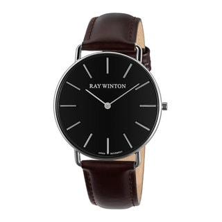 Ray Winton Men's WI0061 Analog Black Dial Burgundy Genuine Leather Watch