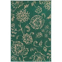 Style Haven Floral Impressions Teal Indoor/Outdoor Area Rug (7'10 x 10'10) - 7'10 x 10'10