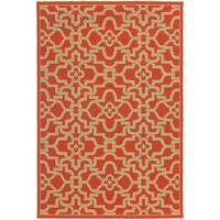 Style Haven Intricate Lattice Orange Indoor/Outdoor Area Rug - 7'10 x 10'10
