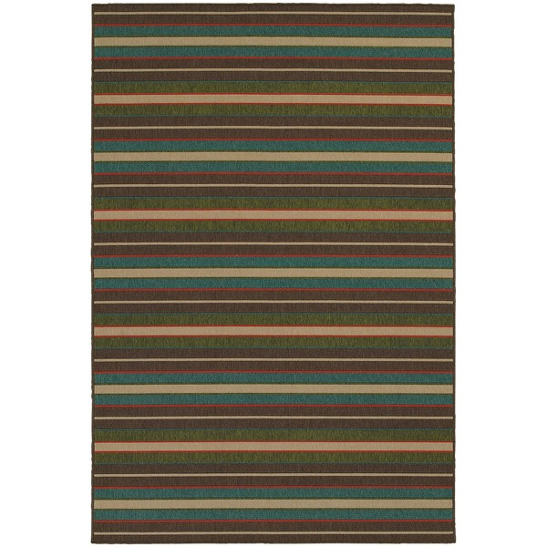 Style Haven Horizonal Stripes Brown Indoor/Outdoor Area Rug - 7'10 x 10'10