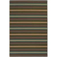 """Style Haven Horizonal Stripes Brown Indoor/Outdoor Area Rug (7'10 x 10'10) - 7'10"""" x 10'10"""""""
