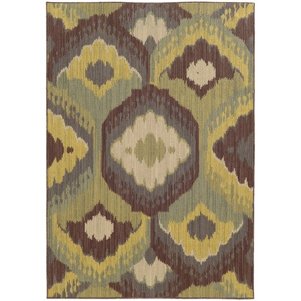 Style Haven Floating Lotus Brown Indoor/Outdoor Area Rug - 7'10 x 10'10