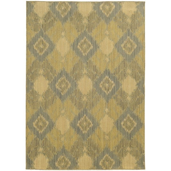 Style Haven Ikat Green Diamond Indoor/Outdoor Area Rug - 7'10 x 10'10