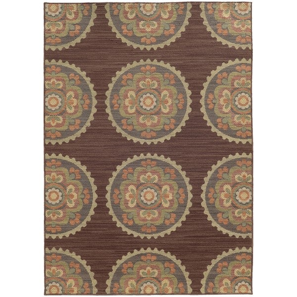 "Style Haven Floral Medallions Brown Indoor/Outdoor Area Rug (7'10 x 10'10) - 7'10"" x 10'10"""