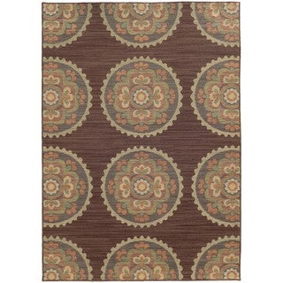 Style Haven Floral Medallions Brown Indoor/Outdoor Area Rug (7'10 x 10'10)