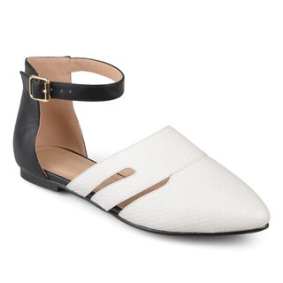 Journee Collection Women's 'Lindon' Two-tone Pointed Toe Ankle Strap Flats