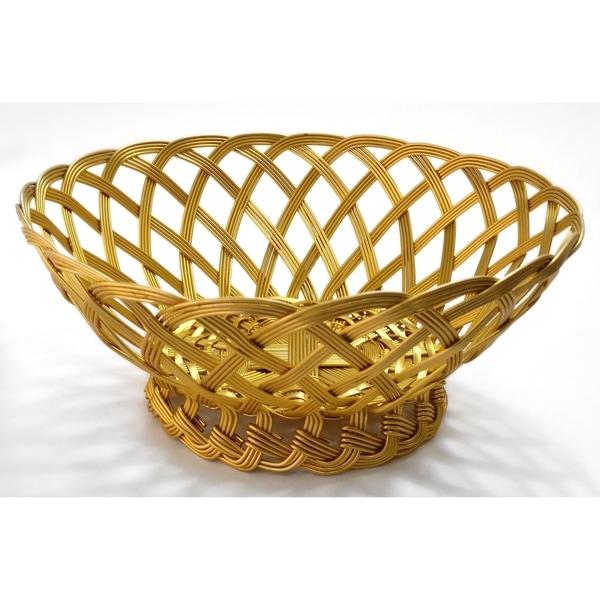 """10"""" Gilded Woven Aluminum Basket"""