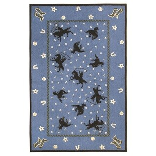 The Rug Market Cowboy Silhouette Blue/Wool Area Rig (5' x 8')