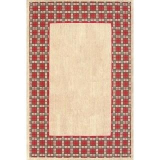 Vogue Tan Wool Border Vine Area Rug (5' x 8')