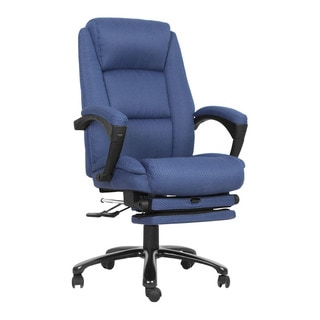 Offex High Back Navy Fabric Executive Reclining Swivel Office Chair with Comfort Coil Seat Springs and Padded Armrests