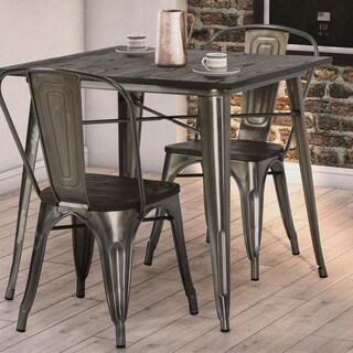 DHP Fusion Antique Gun Metal 2 Chairs and Square Table Set