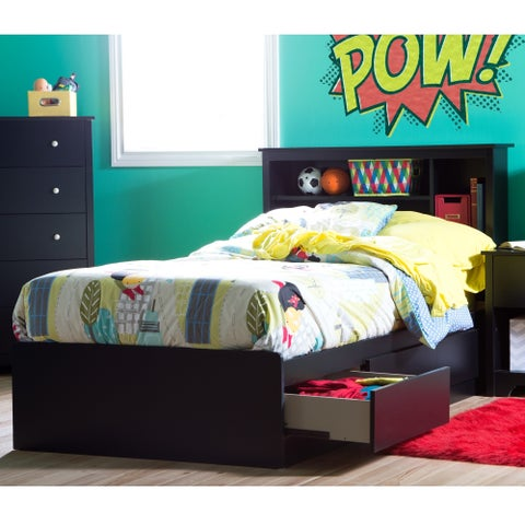 South Shore Vito Twin Mates Laminate Bed with 39-inch Bookcase Headboard