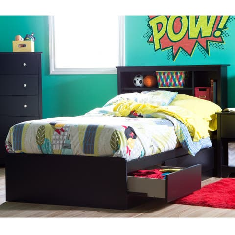 South Shore Vito Twin Storage Bed and Bookcase Headboard Set