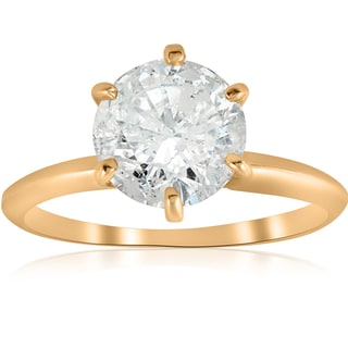 14k Yellow Gold 2 1/2 ct TDW Solitaire Diamond Clarity Enhanced Engagement Ring 6 - Prong (I/J, I2-I3)