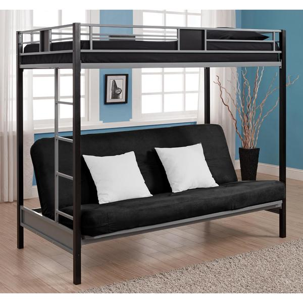 Dhp Silver Screen And Black Metal Twin Over Futon Bunk Bed