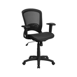 Offex Mid-Back Black Mesh Executive Swivel Office Chair with Height Adjustable Arms
