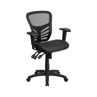 Offex Mid-Back Black Mesh Executive Swivel Office Chair with Multi-Function Triple Paddle Control
