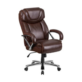 Offex HERCULES Series Big and Tall Brown Leather Executive Swivel Office Chair with Extra Wide Seat