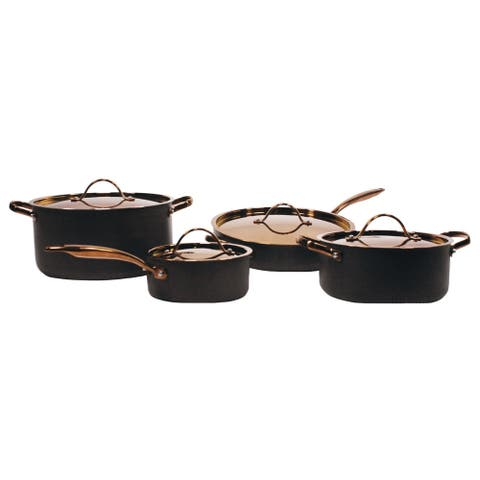 Ouro Black HA 8pc Chef's Set, Rose Gold Hndle & Lid