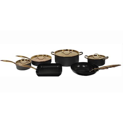 Ouro Black HA 12pc Deluxe Set,, Rose Gold Hndle & Lid