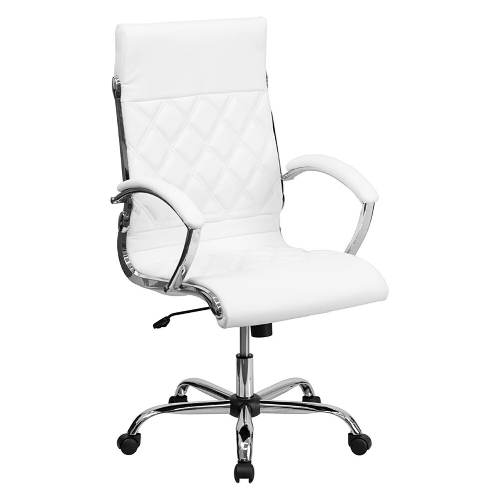 Offex High Back Designer White Leather Executive Office C...