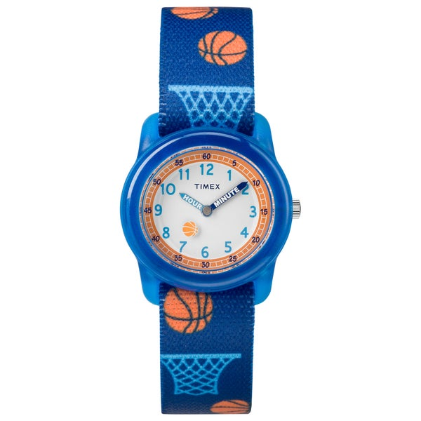 Timex Boys TW7C16800 Time Machines Blue Basketball Elastic Fabric Strap Watch