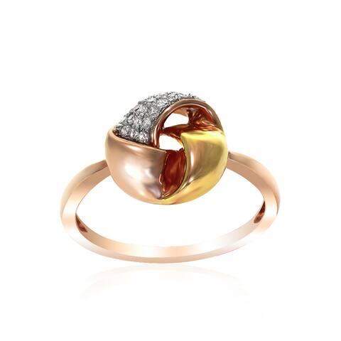 14k Rose Gold Women's Fancy Twist Knot Diamond RIng SIze 6.75