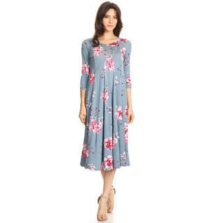 Women's Floral Pattern Jersey Knit Dress