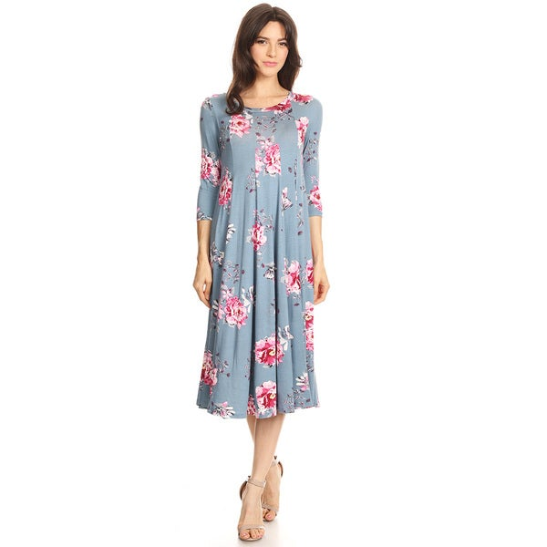 Womens Floral Pattern Jersey Knit Dress Free Shipping Today
