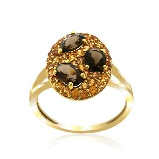 14k Yellow Gold Women's Fancy Precious Yellow Sapphire Smoky Topaz Gemstone RIng SIze 7
