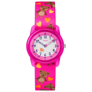 Timex Girls TW7C16600 Time Machines Pink Bears Elastic Fabric Strap Watch