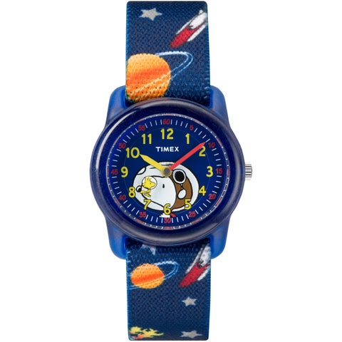Timex Boys TW2R41800 Time Machines x Peanuts: Blue Woodstock & Snoopy/Outer Space Fabric Strap Watch