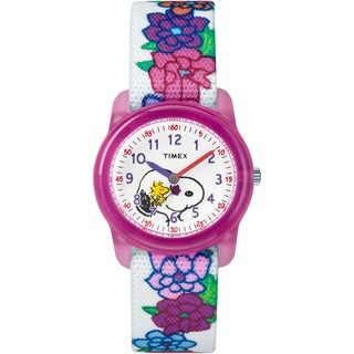 Timex Girls TW2R41700 Time Machines x Peanuts: White Woodstock & Snoopy/Flowers Fabric Strap Watch
