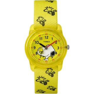 Timex Kids TW2R41500 Time Machines x Peanuts: Yellow Woodstock & Snoopy Fabric Strap Watch|https://ak1.ostkcdn.com/images/products/16752943/P23063337.jpg?impolicy=medium